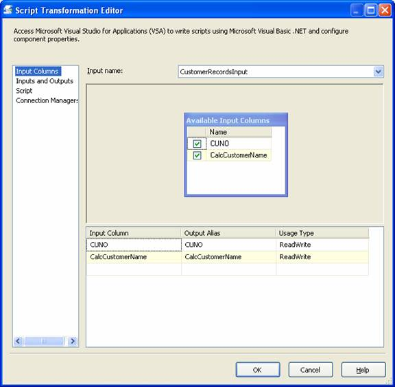 Using the SSIS transformation script component in an ETL
